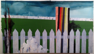 Reeves, Jennifer, Garden of Gethsemane, 2014, acrylic and oil stick on panel, 36 x 62.5