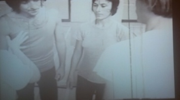 Performers in Yvonne Rainer's Conneticut rehearsal