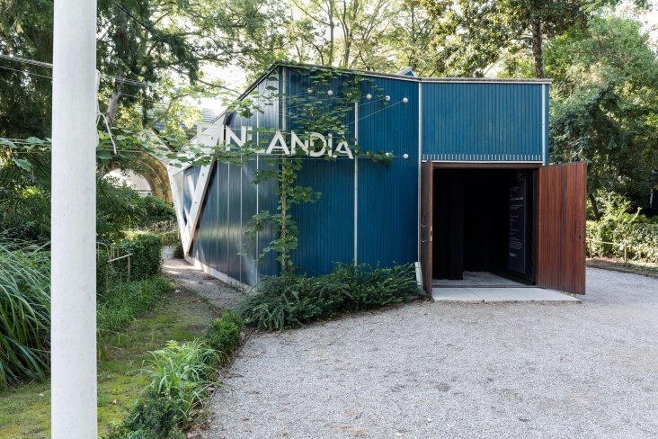 Outside the Pavilion of Finland at the 56th Venice Biennale.