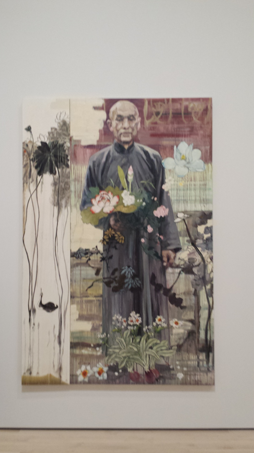 Hung Liu's oil on canvas.