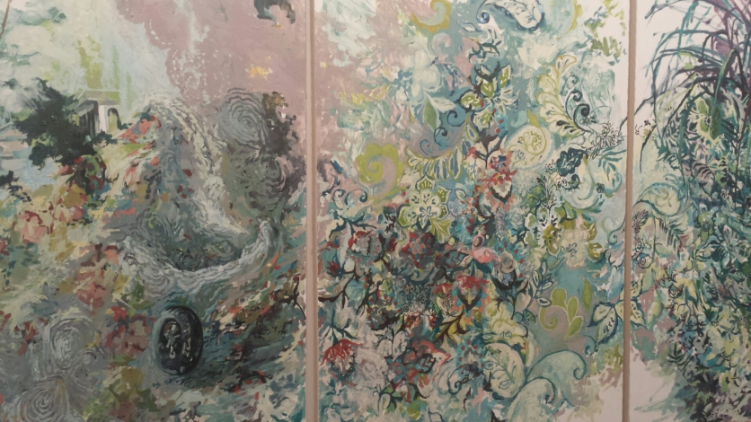 Teresa Dunn, Interlaced, Oil on paper mounted on canvas (triptych), 60 x 120, 2015.