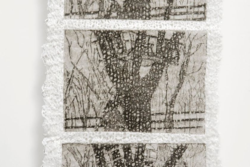 Aimee Lee, Private Performance Treehouse. 2008, Intaglio on knit linen paper yarn.