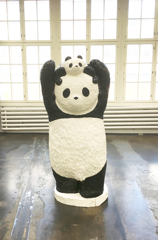 yasushi-koyama-panda-papa-and-child-2016-birch-house-paint-oil-color-162x85x80cm