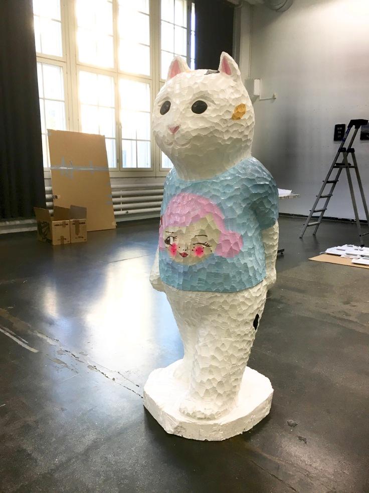yasushi-koyama-walking-cat-with-tshirt-by-katja-tukiainen-2016-birch-house-paint-156-x-72-x-71-cm