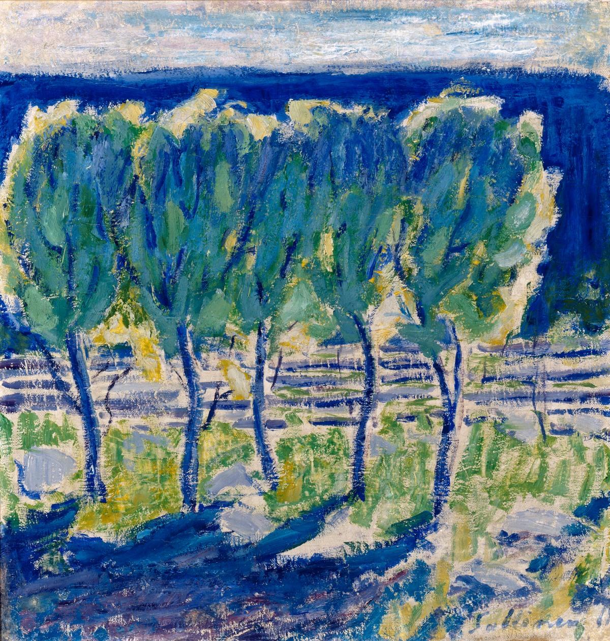 Tyko Sallinen, Leppiä keväällä, Alder Trees in the spring, 1911, Courtesy of HAM, photo Hanna Riikonen.