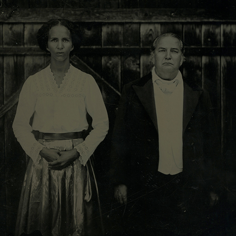"Prototype of Sasha Huber and Thomas Götz as Louis Agassiz, Wet plate collodion photography by Borut Peterlin, comissioned by Sasha Huber, 2013, 10"" x 12""."