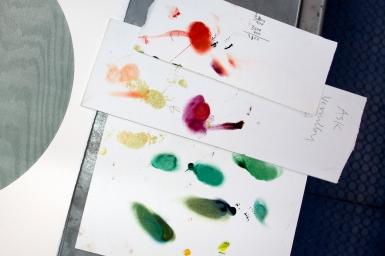 The designer investigates colors.