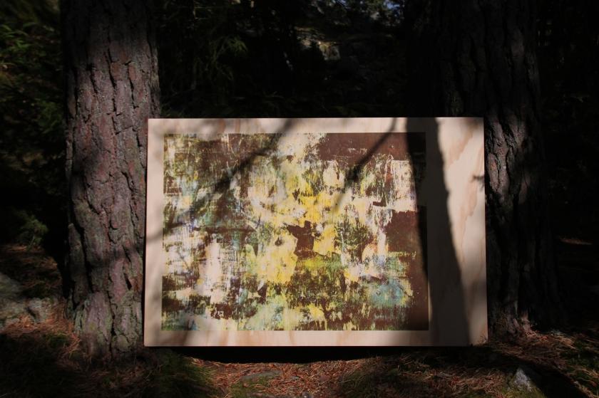 Sirkku Ketola: Feedback, 2016. Handprinted silkscreen on wood. 81 x 105 cm. Process picture.